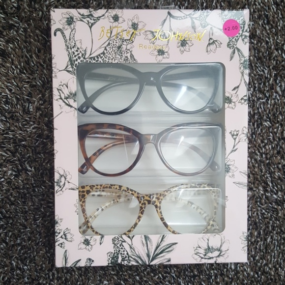 8478625bc92f Betsey Johnson 3 Pairs Cat Eye Readers +2.00